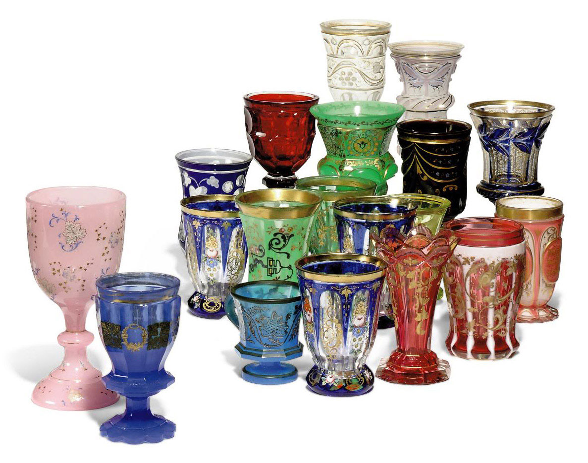 NINETEEN BOHEMIAN GLASS BEAKERS, GOBLETS AND CUPS