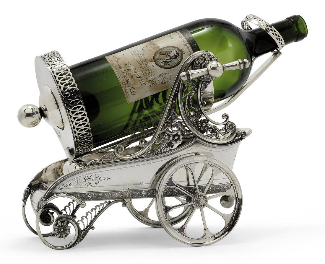 A LARGE AMERICAN ELECTROPLATED JEROBOAM WINE BOTTLE CHARIOT
