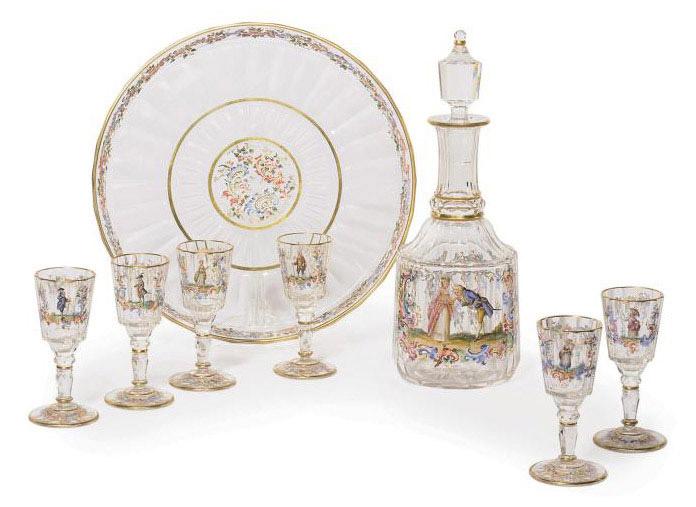 AN ENAMELLED AND GILT GLASS SPIRIT-SET