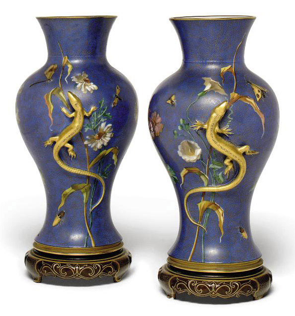 A PAIR OF FRENCH PORCELAIN BLUE-GROUND VASES