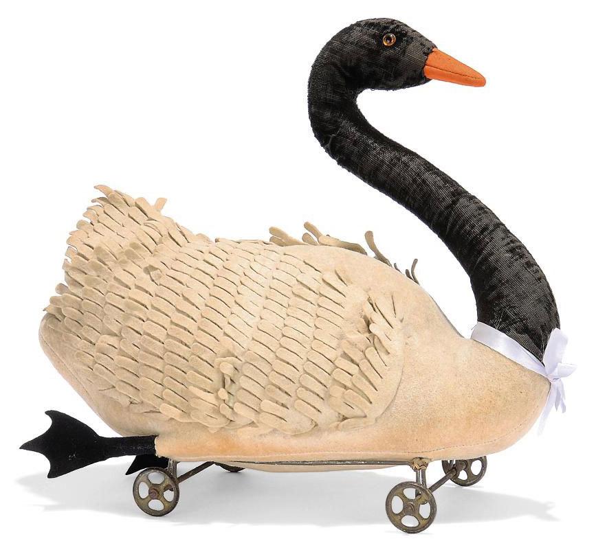 a steiff felt black necked swan on wheels 2128 white brown and black glass eyes orange. Black Bedroom Furniture Sets. Home Design Ideas