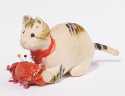 A STEIFF EARLY VELVET CAT PINC