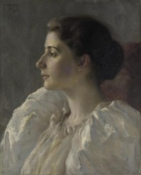 Portrait of a young lady in a white dress