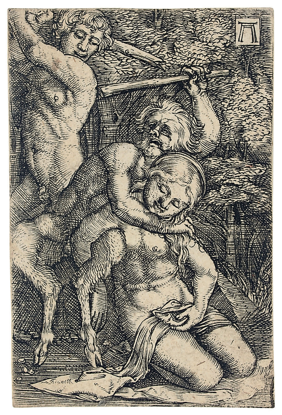 Two Satyrs, fighting about a Nymph (Bartsch 38; Winzinger 164)
