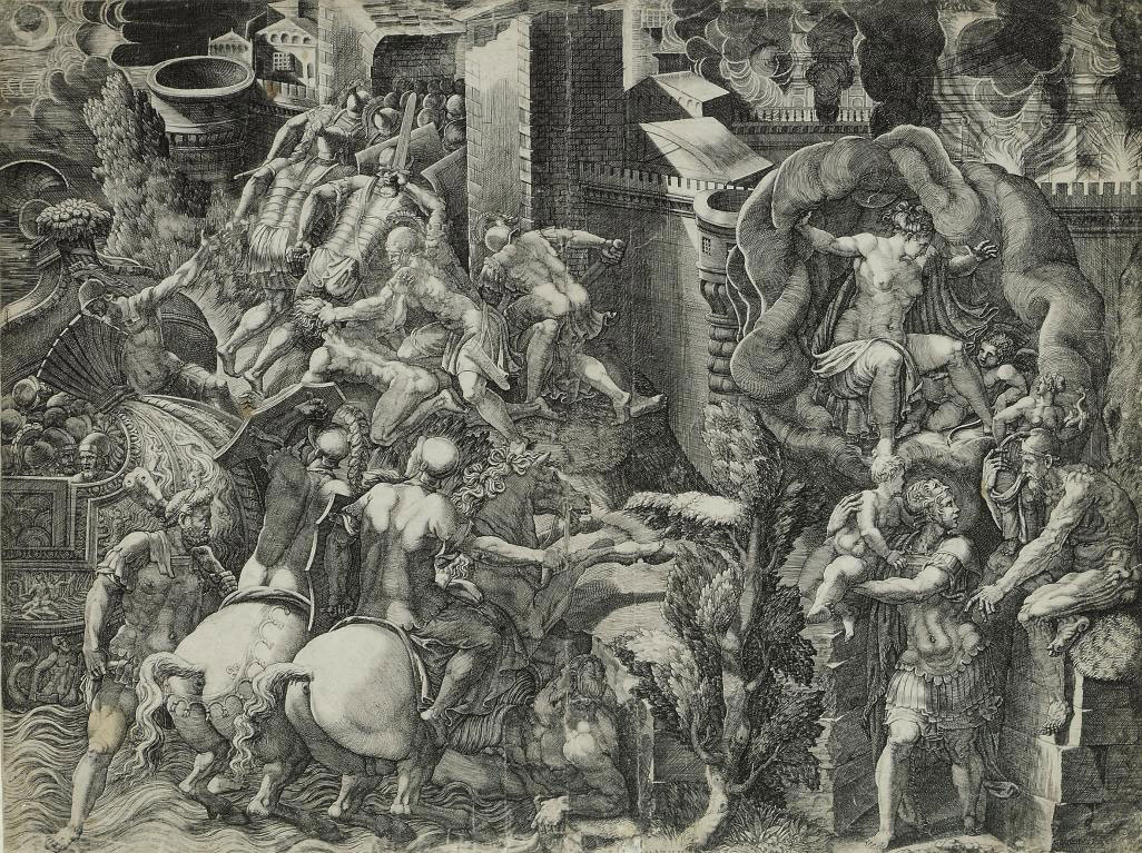 The Fall of Troy and the Escape of Aeneas (Bartsch 29; Boorsch & Lewis 8)