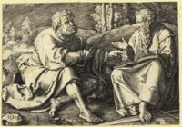 Saints Peter and Paul seated in a Landscape (Hollstein 106)