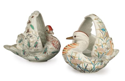 TWO GALLE FAIENCE BIRD BASKETS