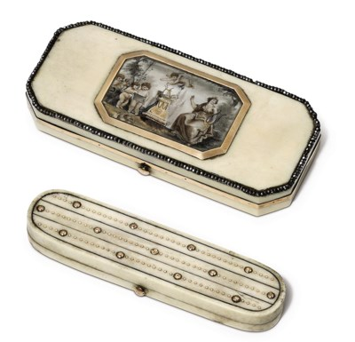 TWO GEORGE III IVORY TOOTHPICK