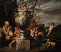 A bacchanalian scene with Pan an putti pressing grapes - An allegory of Autumn