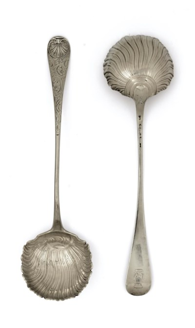 TWO GEORGE II SILVER SOUP LADL