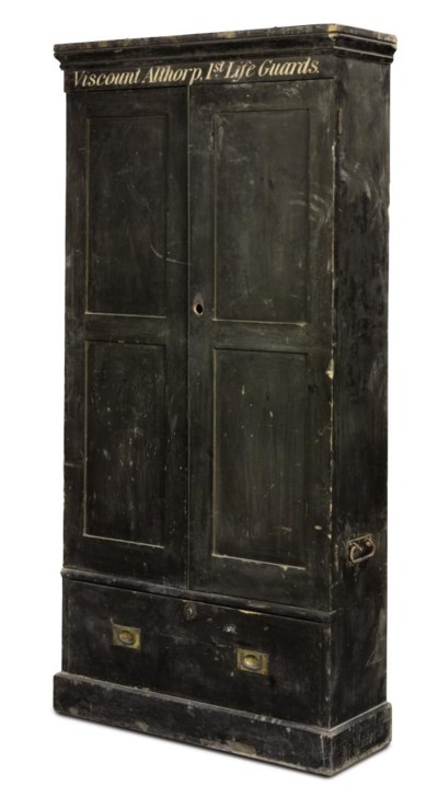 AN EDWARDIAN PAINTED PINE CUPB