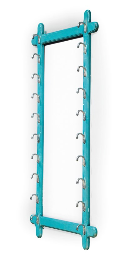 A TURQUOISE PAINTED WHIP RACK