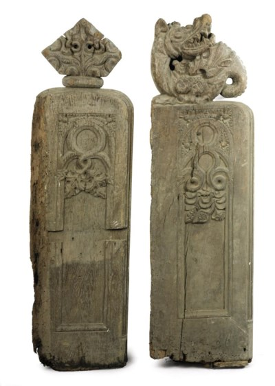 TWO ENGLISH CARVED OAK PEW END