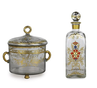 A CONTINENTAL GILT GLASS TWO-H