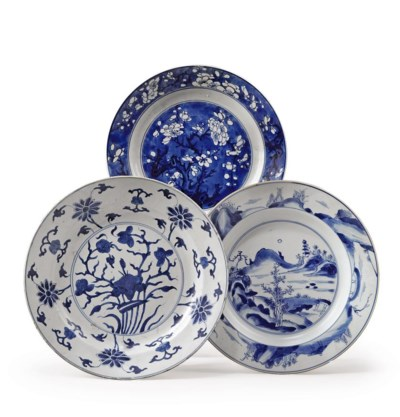 FOUR CHINESE BLUE AND WHITE DI