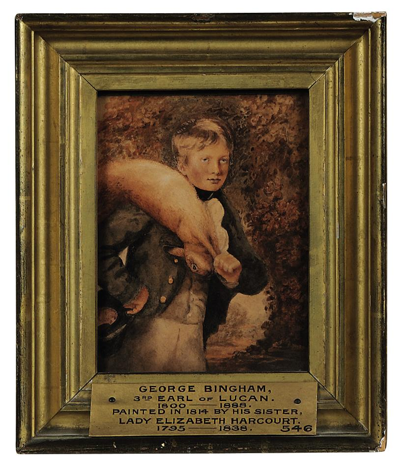 Portrait of George Bingham, 3rd Earl of Lucan (1800-1888) as a boy, carrying a hare