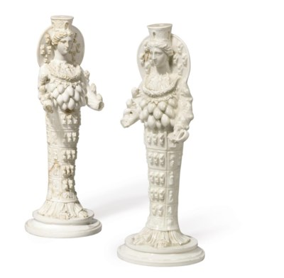 TWO NAPLES PORCELAIN WHITE FIG