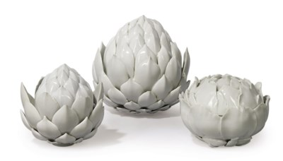 TWO MEISSEN WHITE ARTICHOKE BO