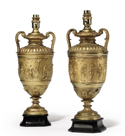 A PAIR OF FRENCH GILT-METAL VA