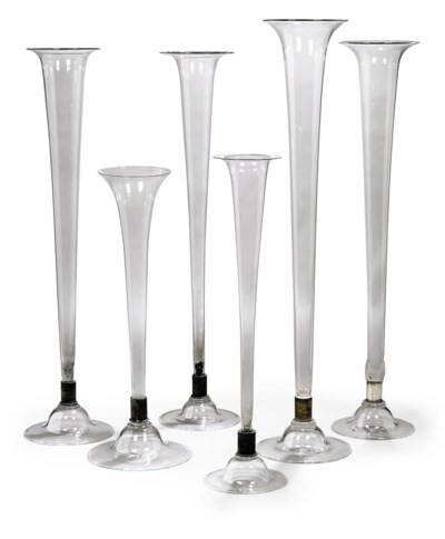 SIX LARGE GLASS TRUMPET-SHAPED