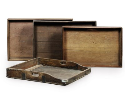 FOUR ENGLISH BUTLER'S TRAYS