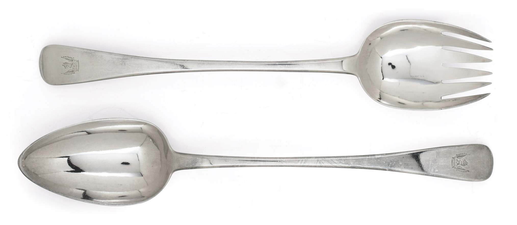 A PAIR OF GEORGE III SILVER SALAD-SERVERS