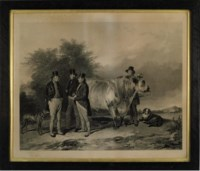 John Charles, 3rd Earl Spencer and associates, with a prize bull, at Wiseton