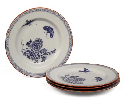 SIX ENGLISH DELFT BLUE AND WHT