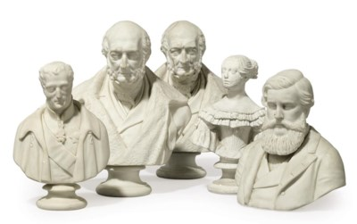 A GROUP OF PARIANWARE BUSTS
