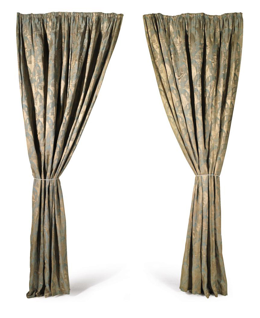 THREE PAIRS OF ART DECO STYLE CURTAINS , CIRCA 1925