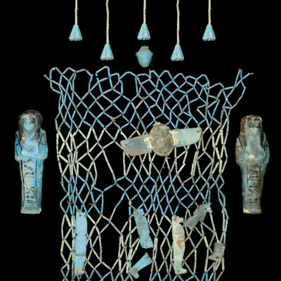 AN EGYPTIAN BLUE AND TURQUOISE
