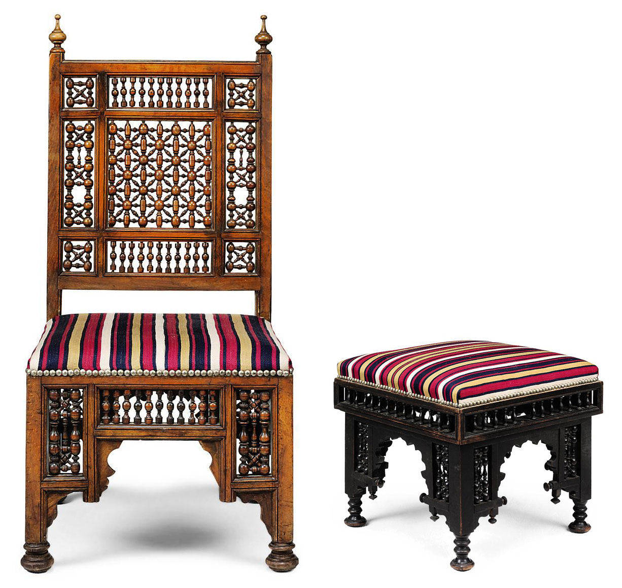 Admirable A Syrian Hardwood Side Chair And An Ottoman Stool Early Alphanode Cool Chair Designs And Ideas Alphanodeonline