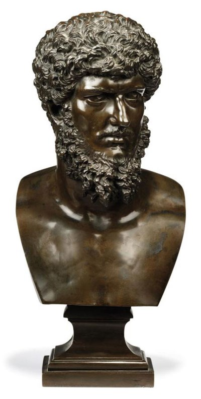 A BRONZE BUST OF LUCIUS VERUS