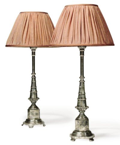 A PAIR OF SILVERED CAST BRASS