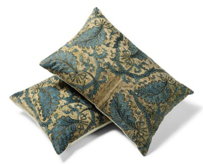 A PAIR OF TURKISH SILK AND GIL