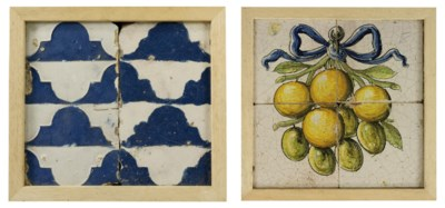 TWO CONTINENTAL POTTERY FRAMED