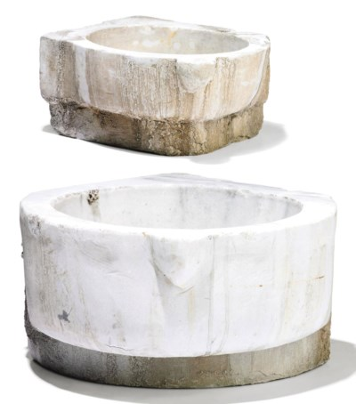TWO OTTOMAN MARBLE BASINS