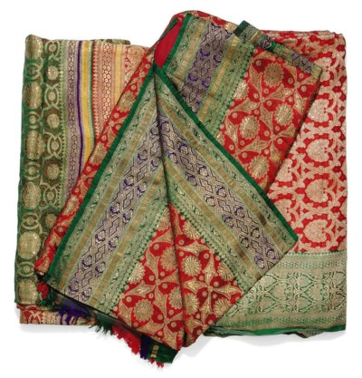 THREE INDIAN SILK BROCADE SARI