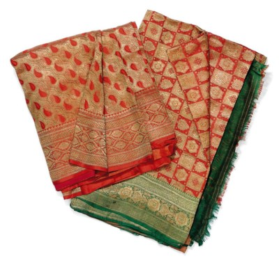 TWO INDIAN SILK SARIS