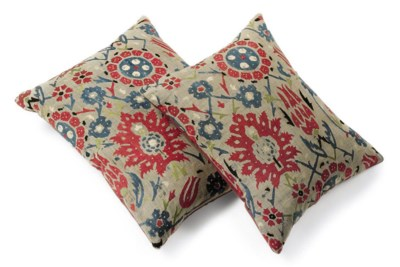 TWO SILK EMBROIDERED CUSHIONS