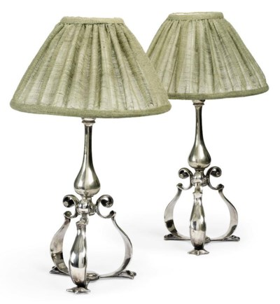 A PAIR OF SILVERED-BRASS TABLE