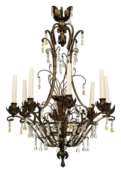 A FRENCH WROUGHT-IRON AND CUT-