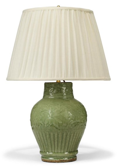 A CHINESE CELADON GLAZED LAMPE