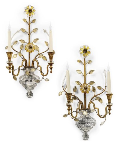 A PAIR OF FRENCH CUT-GLASS-MOU