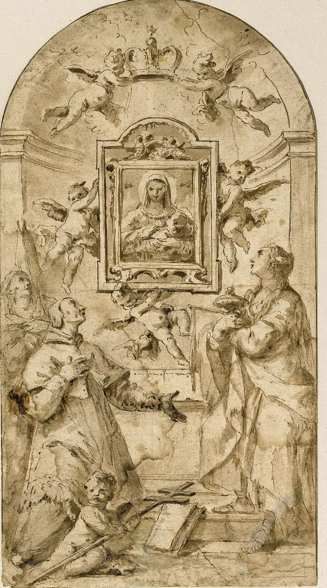 An image of the Madonna and Child supported by putti and adored by saints including Saint Filippo Neri and Saint Mary Magdalene