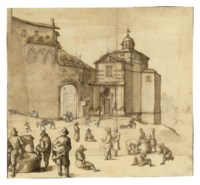 Figures and animals outside the gate of a town