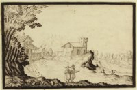 Two figures in a landscape, a church beyond