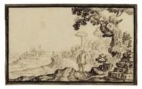 A figure in a landscape, a friar beyond