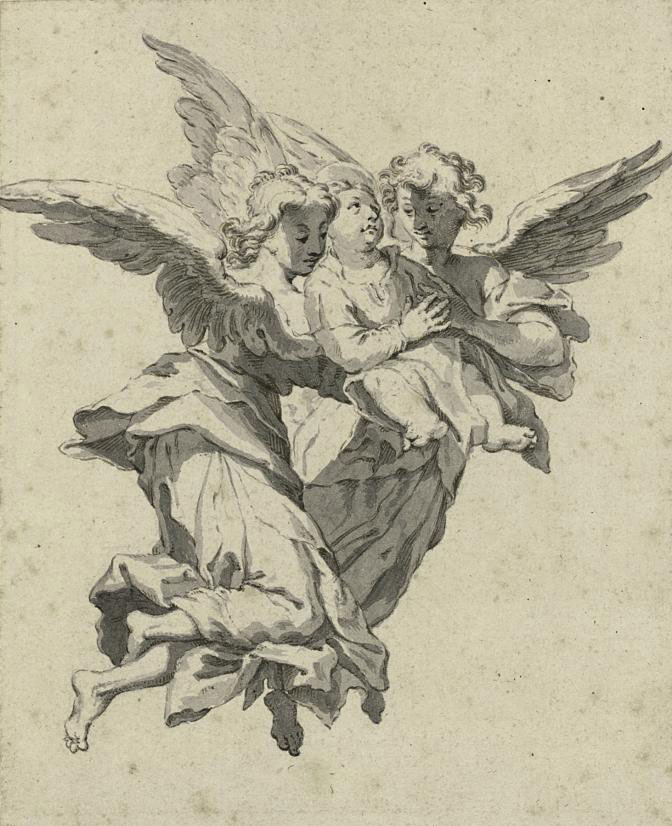 Angels carrying the infant Christ