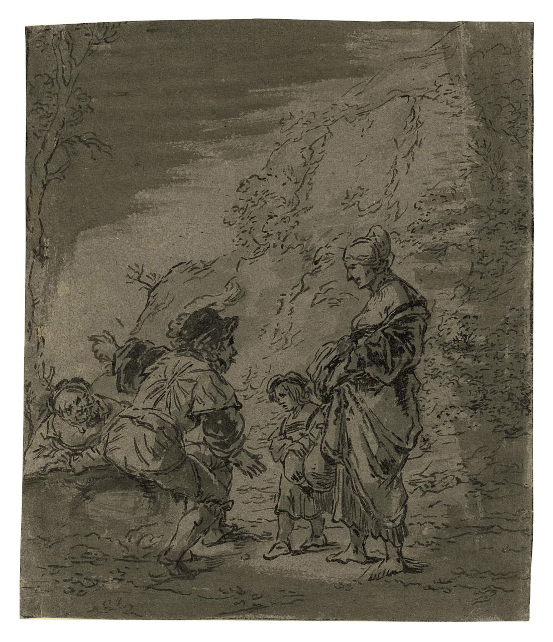 A woman and child asking directions from two men (recto); A man and woman conversing near a village (verso)